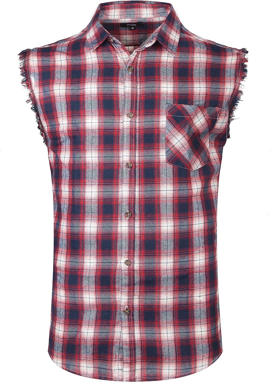 AVANZADA Men's Button Down Sleeveless Plaid Shirt Casual Flannel Shirt for Men Cotton Plus Size Vest Western Shirt