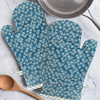 HOME COLORS.IN 100% Cotton Oven Mitts Gloves - Quilted with Strong Cotton Layers - Heat Resistance Microwave Hand Glove - ...