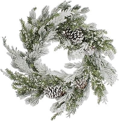 The Bridge Collection Snow-Flocked Pine Needles & Cones Wreath
