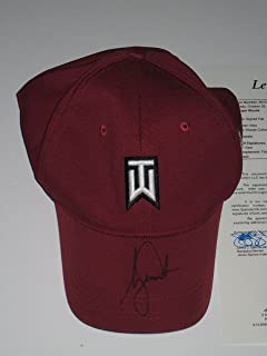 3358ae204870b Tiger Woods signed Burgundy Nike 20Vr TW Fitted Golf Hat JSA Letter