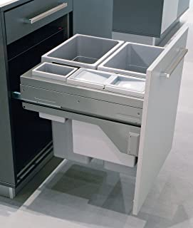 Waste Bin Pull out by Hafele Euro Cargo 60, cabinet door mounted, gray, soft close, 2 x 35 liter bins, 1 x 2.5 liter bin, and 1 x 12 liter bin