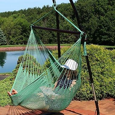 Hanging Caribbean XL Hammock Chair - Jungle Green Hammock Chairs Outdoor Hammock Chairs Patio Outdoor Furniture Hammock Chair