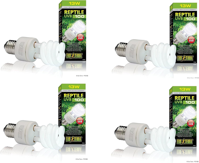 (4 Pack) Exo Terra ReptiGlo 5.0 Compact Fluorescent Tropical Terrarium Lamps, 13 Watt