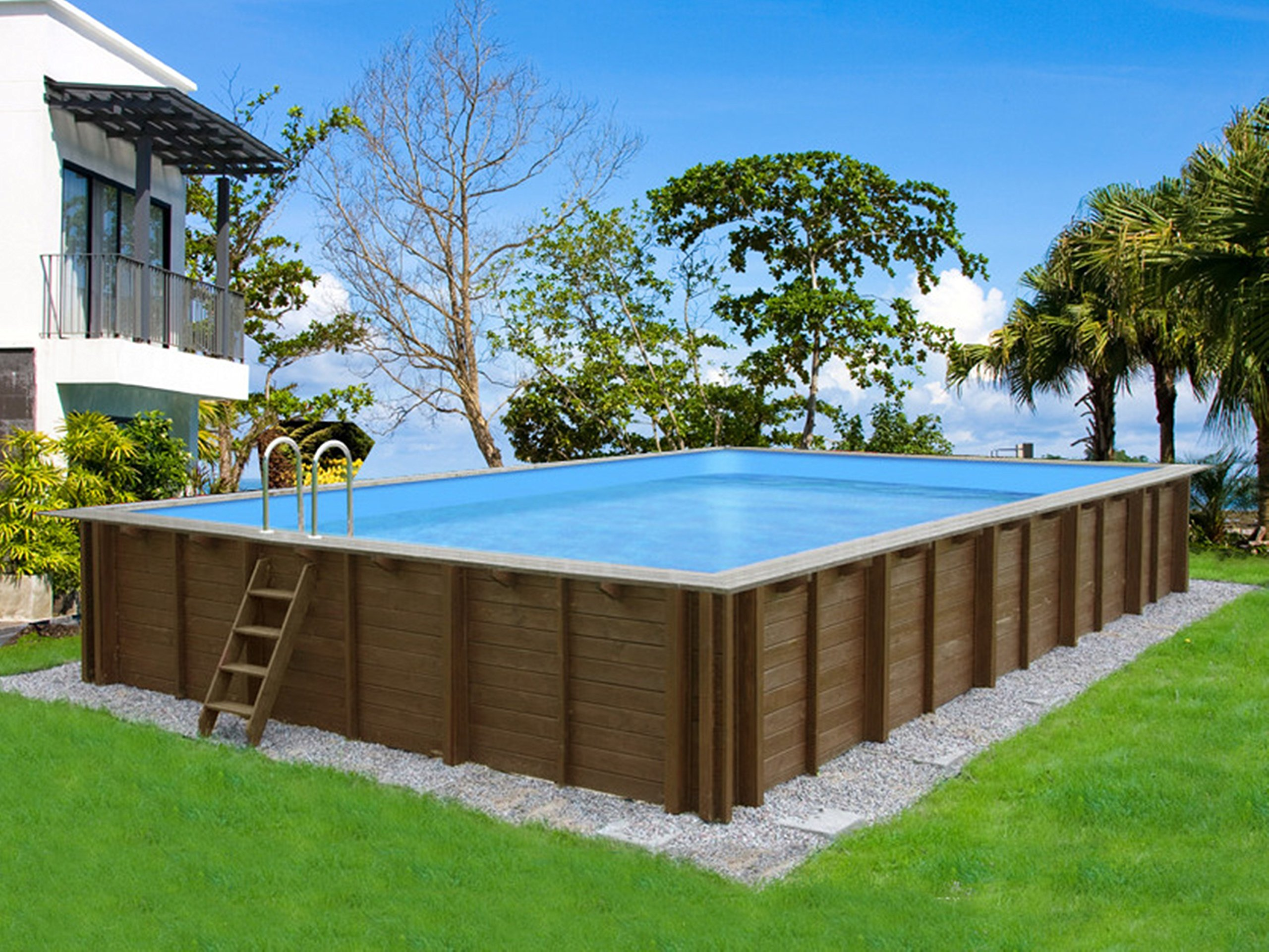 House of Pools Piscina de Madera Forma de Rectangular Kit Giant Wood Mega 4, 90m x 8, 34m x 1, 38m Liner 0, 7mm: Amazon.es: Jardín