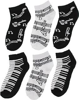 Women's Black White Music Notes, Piano Keys, Instruments Ankle Low Cut Socks, (6Pr)