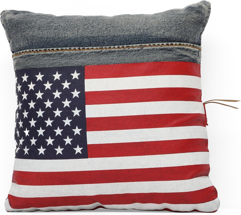 Cowboy Cushion bluee Denim w  USA Flag