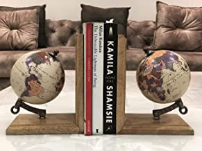 Cosmic Globe Exports-Vintage Globe Bookends for Office, Kitchen, Living Room, Home Decor and Gift Item Globe - 4 Inch Globe Ball Dia; 7'*4'* 6' (Set of 2)