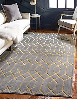 Unique Loom Marilyn Monroe Glam Collection Textured Geometric Trellis Gray Gold Area Rug (2' 0 x 3' 0)
