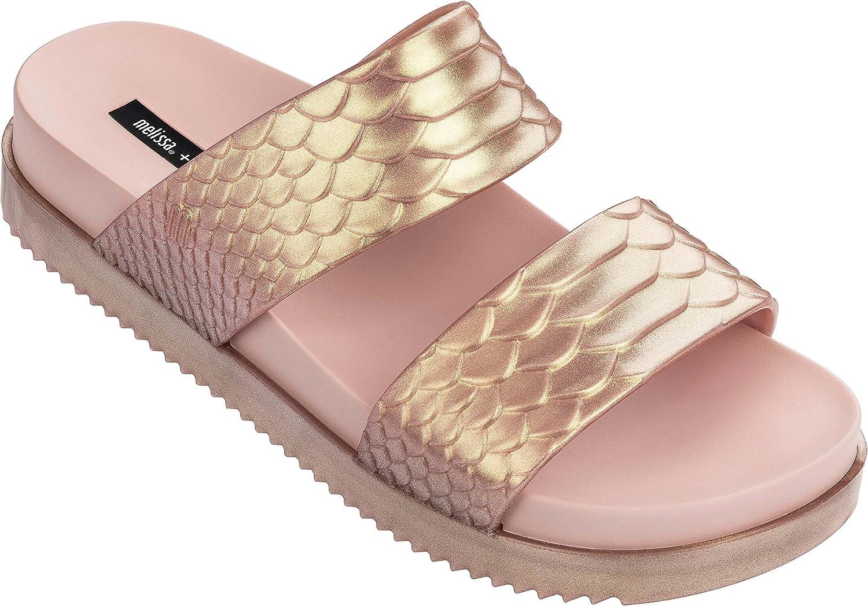 Melissa Womens Cosmic Python Baja East Slide Sandal, Metallic Pink, Size 6