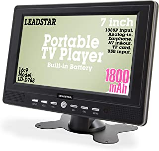 7 Inch Portable Small Digital ATSC TFT HD Screen Freeview LED TV for Car, Caravan,Camping,Outdoor or Kitchen.Built-in Battery Television/Monitor with FM, Multimedia Player Support USB Card LEADSTAR