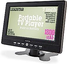 7 Inch Portable Small Digital ATSC TFT HD Screen Freeview LED TV for Car, Caravan,Camping,Outdoor or Kitchen.Built-in Batt...