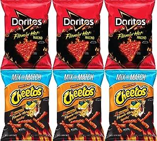 Cheetos Crunchy XXTRA Flamin Hot + Doritos Flamin Hot Nacho Cheese Tortilla Chips, Family Bulk Party Size   Pack of 6