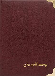 At Ease Specialties in Memory Funeral Guest Book, Visitor Registration, Condolence & Memorial Book, 7.25x10 Inches, Brass Ring Binder (45) Removable Pages - Burgundy