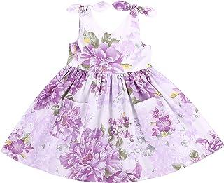 Flofallzique Maxi Floral Girls Dress Easter Junior Dress Casual Cotton Sleeveless Sundress