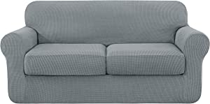 subrtex Sofa Cover High Stretch Couch Slipcover with Separate Cushion Couch Cover Soft Loveseat Slipcover Furniture Protector Machine Washable(Light Gray,Medium)