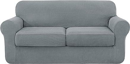 subrtex 3-Piece High Spandex Lattice Sofa Slipcover 2 Seater Separate Cushion Cover for Loveseat(Light Gray)