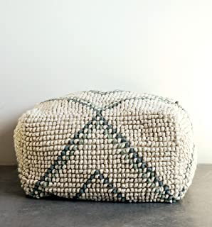 Creative Co-op Cream New Zealand Blue & Green Accents Pouf, White