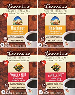 Teeccino Chicory Roasted Herbal Tea, Variety Pack (Vanilla Nut, Hazelnut), Caffeine Free, Acid Free, Coffee Substitute, Prebiotic, 10 Tea Bags (Pack of 4)