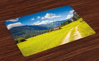 Lunarable Nature Place Mats Set of 4, Julian Alps Mountain Valley Rural with Wooden Country House Paradise Picture, Washable Fabric Placemats for Dining Room Kitchen Table Decor, Lime Green Blue