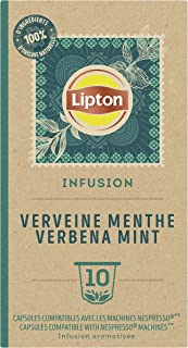 Lipton Infusion Verveine Menthe Capsules Compatibles Nespresso, Anti-stress, Parfum Savoureux de Menthe, 1 x 10 capsules