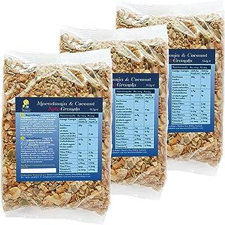 Granola Keto con Nueces de Macadamia y Coco sana y deliciosa - Bajo en Carbohidratos y Sin Gluten - Sin azúcar añadido - 3 x 312g - by Maria Lucia Bakes