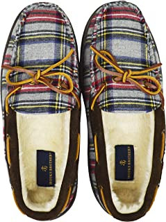 Brooks Brothers Men's 00145567 Faux Fur Lined Leather Plaid Slippers, Gray/Blue Multi (Size: 10M)