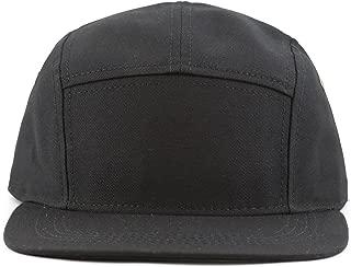 Made in USA Cotton Twill 5 Panel Flat Brim Genuine Leather Brass Biker Board Cap