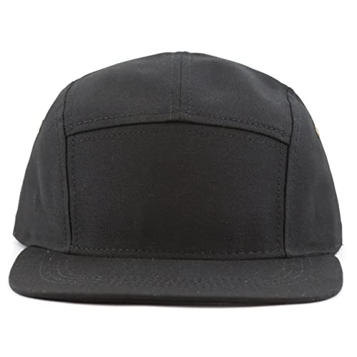 fb068bbf26e21 THE HAT DEPOT Cotton Twill 5 Panel Flat Brim Genuine Leather Brass Biker  Board Cap