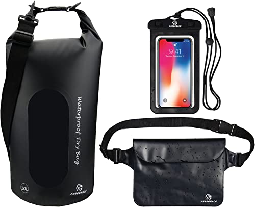 Waterproof Dry Bags Set of 3 by Freegrace - Dry Bag with 2 Zip Lock Seals & Detachable Shoulder Strap, Waist Pouch & ...