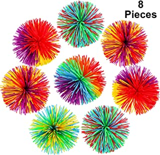 Leinuosen 8 Pieces Monkey Stringy Balls Sensory Fidget Stringy Balls Soft Rainbow Pom Bouncy Stress Balls with Storage Bag, Multicolor (8 Pieces)