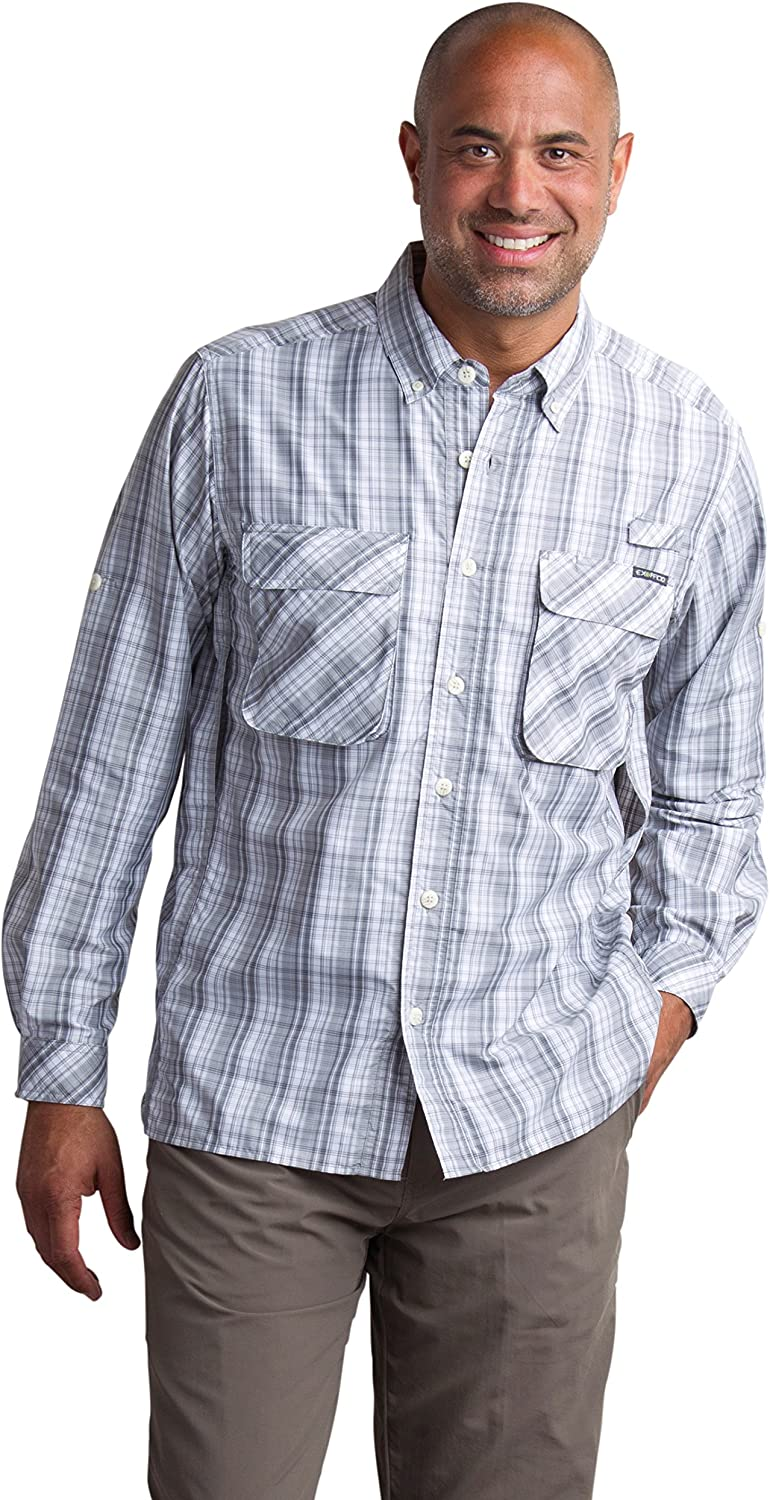 ExOfficio Men's Medium Air Strip Macro Plaid Long Sleeve