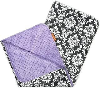Dear Baby Gear 豪华婴儿毯,定制米黄色和白色锦缎 White Damask, Lavender 38 x 29 Inch