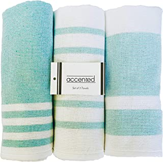 Accented Kitchen Towels, Set of 3 - Thick, Fast Drying, Absorbent Tea Towels - Turkish Cotton Terry Back Dish Towel Set with Hanging Loop - (19 x 26 inches) (Mint Green)