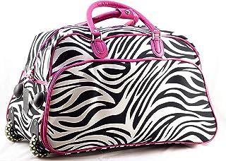 Uni Collections 21-Inch Wheeled Duffle Bag (Zebra Print Pink Trim)