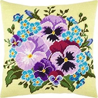 Bouquet of Pansies. Cross Stitch Kit. Throw Pillow 16×16 Inches. Printed Tapestry Canvas, European Quality