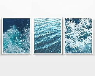 Ocean Waves Photography Prints, Set of 3, Unframed, Beach Sea Costal Wall Art Decor Poster Sign, 8x10