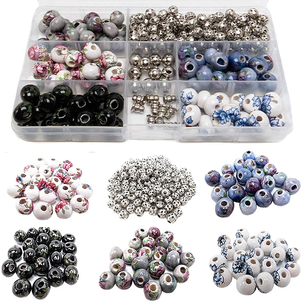 100 PCs Porcelain Bead Assortment & 120 Filigree Silver Beads Container Kit with Elastic Cord - Premium Quality Jewelry Making Finding Supplies for Adults - Great for Bracelets, Necklaces, Crafts (5)