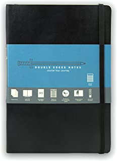 Black Softcover Journal with Ruled Pages: DIY Table of Contents, 185 Numbered Pages, Archival Stickers, Premium Paper 5.75