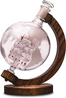 Whiskey Decanter with Ship Inside - Etched Globe Decanter for Alcohol, Bourbon, Scotch etc – Alcohol Gift for Groomsmen Gifts for Wedding or Housewarming Gift for Men & Women – 1000ml