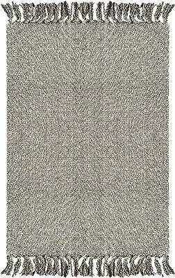 Wininplus Braided Rug Cotton Area Rug Hand Woven Reversible Floor Rug Pure Tassels Throw Rugs Door Mat Laundry Room Rug Indoor Runner Bathroom Tablecloth,Grey 2'x3'