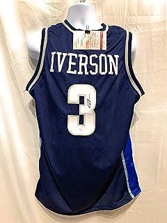 29b1d41e8c0 Allen Iverson Georgetown Hoyas Autograph Signed Blue Custom Jersey JSA  Witnessed Certified