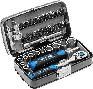 Högert Zestaw narzędzi w walizce – zestaw narzędzi – zestaw narzędzi do kluczy nasadowych, śrubokręt, grzechotka – czarno-...