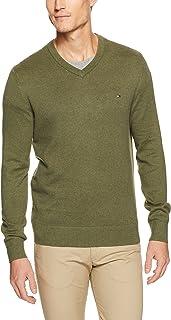 TOMMY HILFIGER Men's Pima Cotton Cashmere V-Neck Sweater, Heather