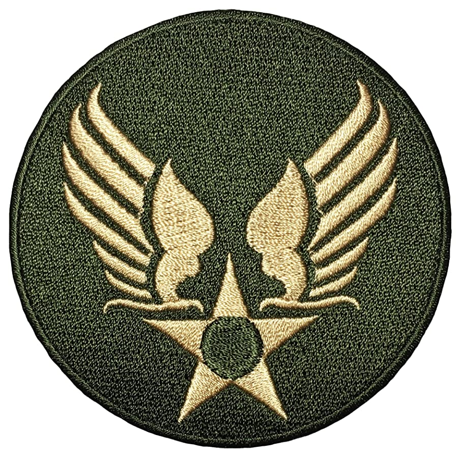Papapatch US Air Force USAF Logo Star Wings Army Military Embroidered Sewing on Iron on Patch - OD Olive Drab Gold (USAF-WING-OD-GOLD)