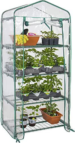 Best Choice Products 4-Tier 27x19x63-inch Mini Greenhouse for Gardens, Patios, and Backyards w/Plastic Cover, Roll-Up...