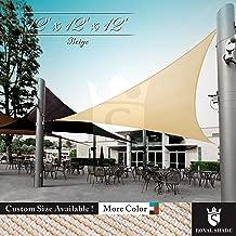 Royal Shade 12' x 12' x 12' Beige Triangle Sun Shade Sail Canopy, 95% UV Blockage, Heavy Duty 200GSM, Custom Made Size