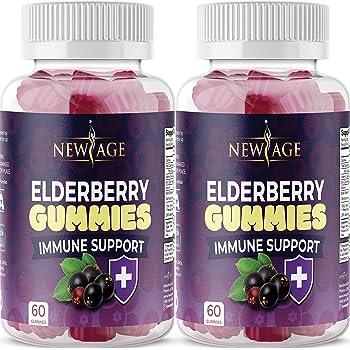 (2-Pack) Premium Elderberry Gummies by New Age for Adults Kids with Vitamin C, Zinc, Propolis - Sambucus Black Elderberry Gummy Extract - Gluten Free & Vegetarian - 120 Gummies