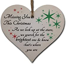Handmade Wooden Hanging Heart Plaque Gift to Remember Lost Loved Ones at Christmas