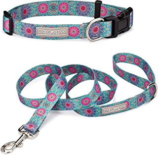 Lucky Love Dog | Matching Dog Collar & Leash Set for Small Medium Large Female Dogs - Soft, Adjustable, Safe for Training and Walking - Clara, XS