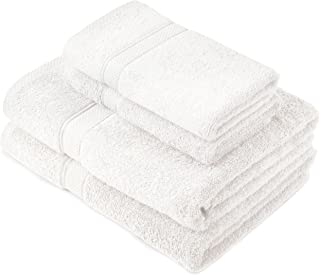 Pinzon by Amazon - Egyptian Cotton Towel Set, 2 Bath and 2 Hand Towels - White, 600gsm